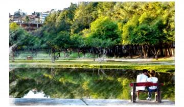 """Pintura """"O encanto do lago"""""""